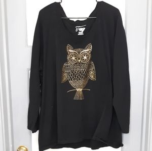 Just My Size glitter owl long sleeve shirt 4x